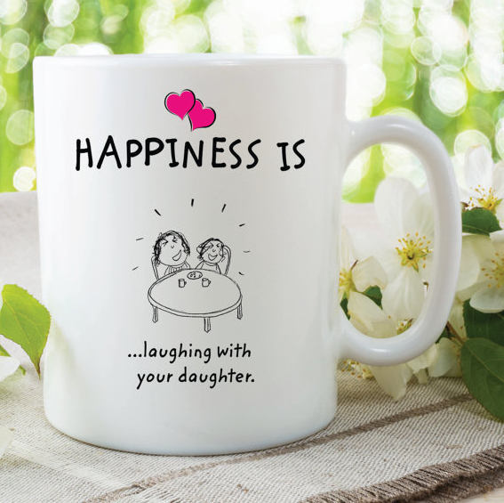 Happiness Is Laughing With Your Daughter Mugs Mothers Day Gift Present For