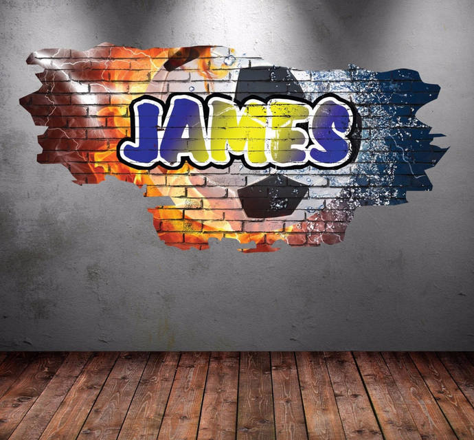 Personalised custom graffiti name football soccer wall decals full colour wall