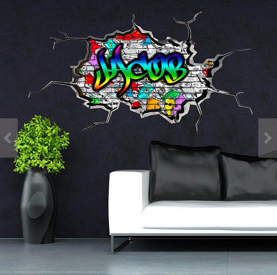 personalised name wall decal cracked wall 3dmysticky on zibbet