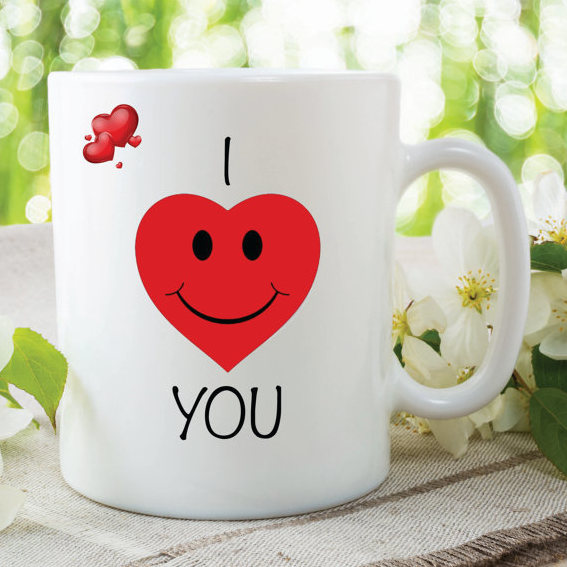I Love You Mug Red Heart Printed Mugs Anniversary Valentines Day Gift Wedding