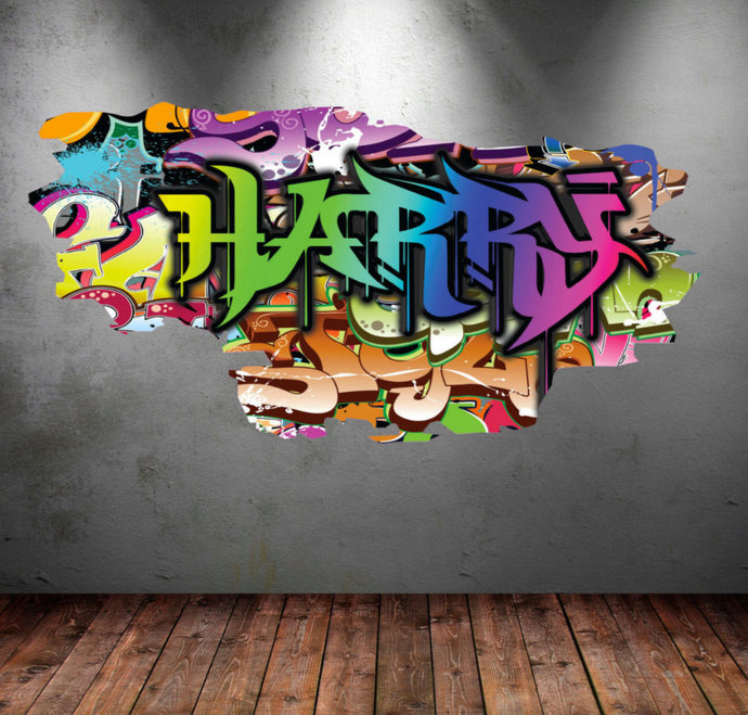 personalized name full color graffiti wall decalsmysticky on