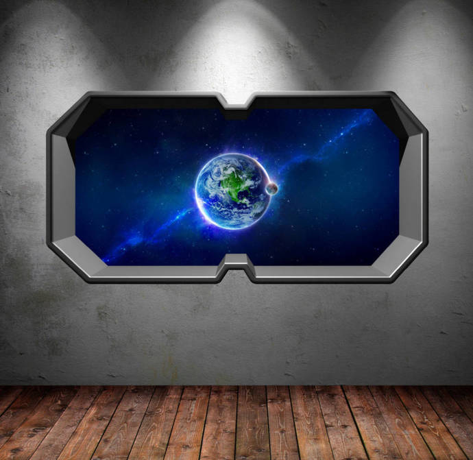 space wall decals planet earth moon galaxy windowmysticky on