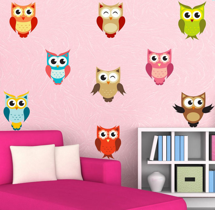 Full Colour Owl Stickers Wall Decal Cute Set Of By Mysticky On Zibbet