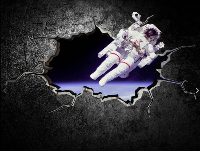 astronaut space planet galaxy cracked wallmysticky on zibbet