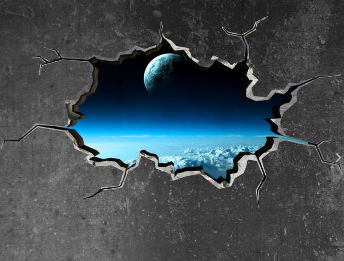 space planet galaxy cracked wall sticker starsmysticky on zibbet