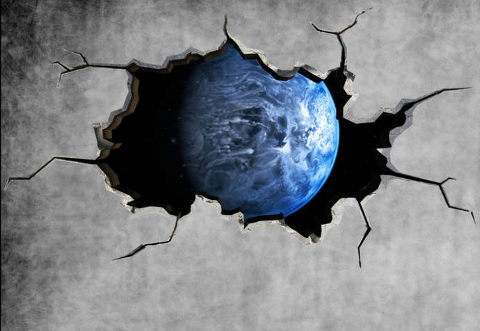 earth space planet galaxy cracked wall stickermysticky on zibbet