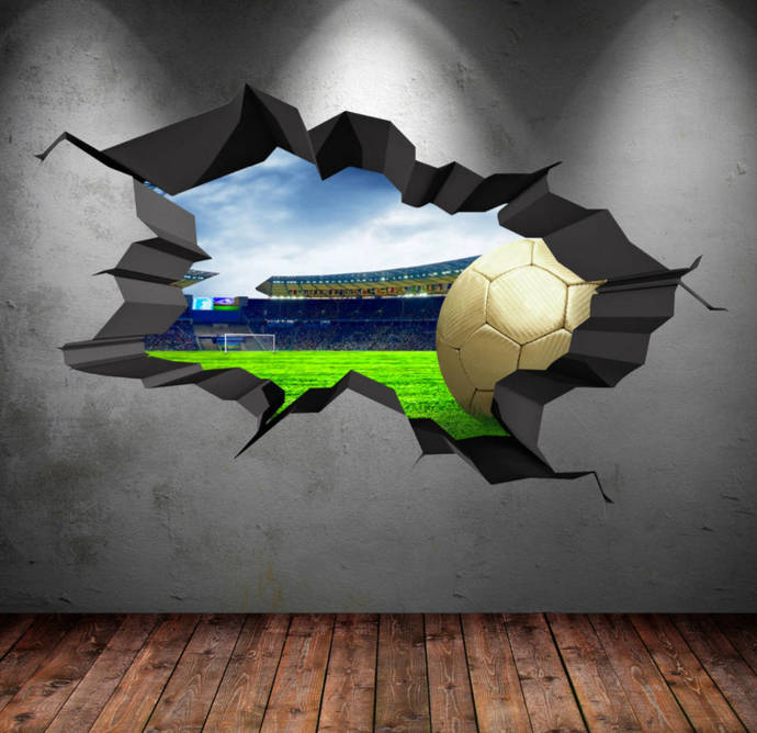 3D Football Stadium Wall Decal Cracked Full by MySticky on Zibbet