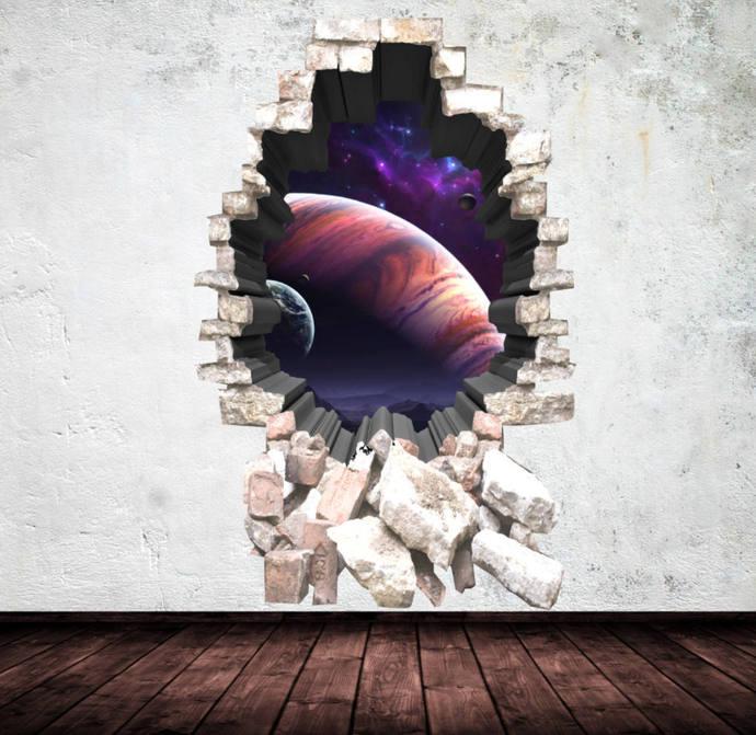 3d deep space planets wall art sticker boy decal mural graphic print nursery