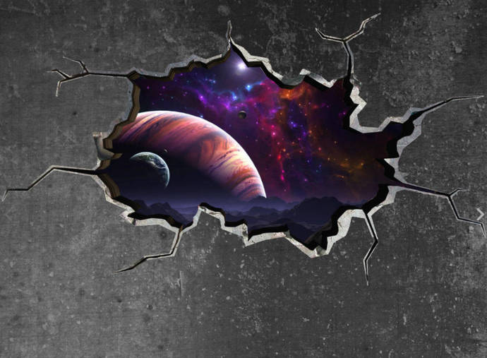 space wall decal planet galaxy cracked wallmysticky on zibbet
