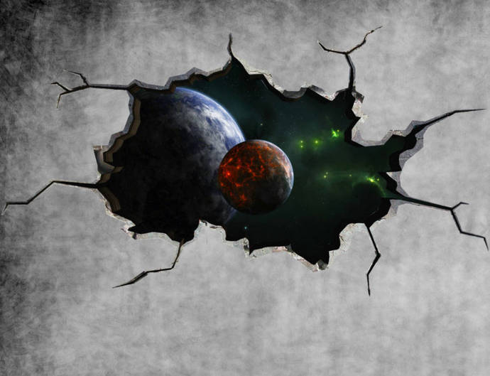 Space Planet Galaxy Cracked Wall Sticker Stars Mural Decal Graphic Wall Art Boys