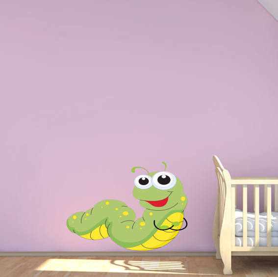 baby caterpiller bug wall sticker decal transfermysticky on zibbet