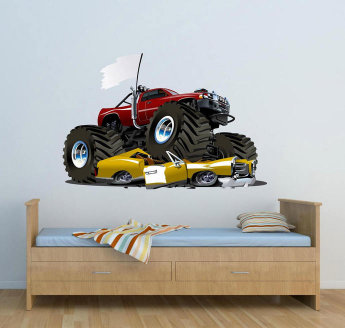 Full Colour Monster Truck Wall Decal Car Wall Art by MySticky on