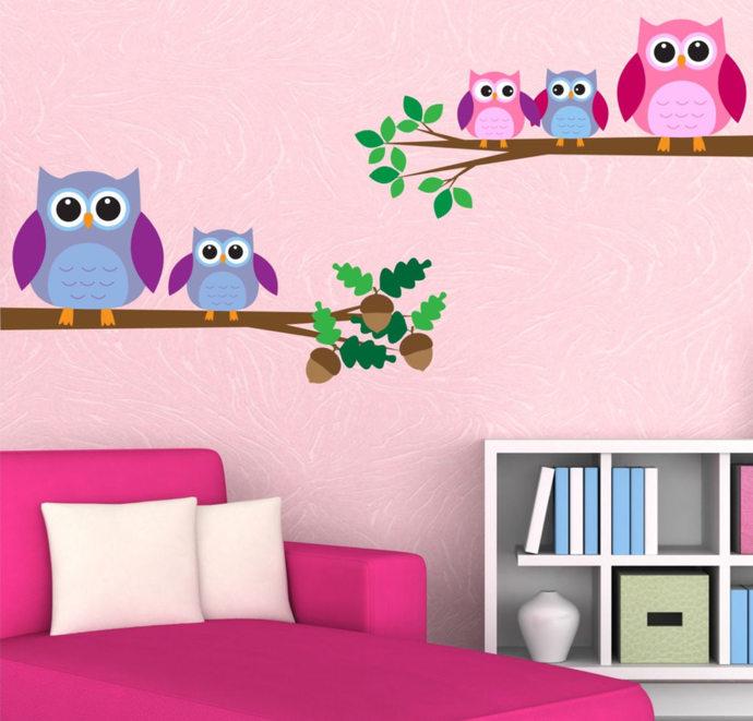 Owls Wall Decal Owls Birds Wall Art Sticker Decal by MySticky on