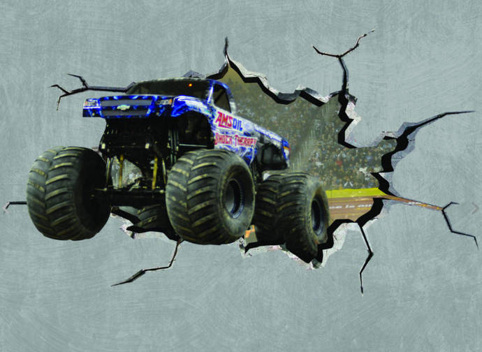 Monster Truck Cracked Wall Effect Sticker Mural Decal Graphic Wall Art Boys