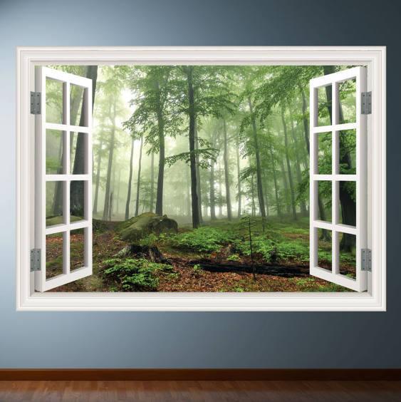 woods trees window frame wall art sticker decal transfer mural graphic wall - Window Frame Wall Art