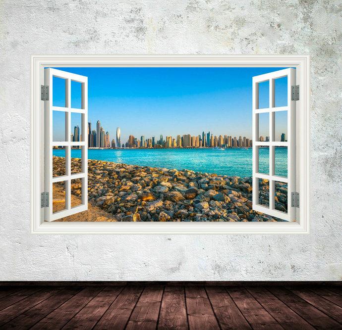 Full Colour Dubai CITY SKYLINE BEACH Sea wall art sticker decal transfer Graphic