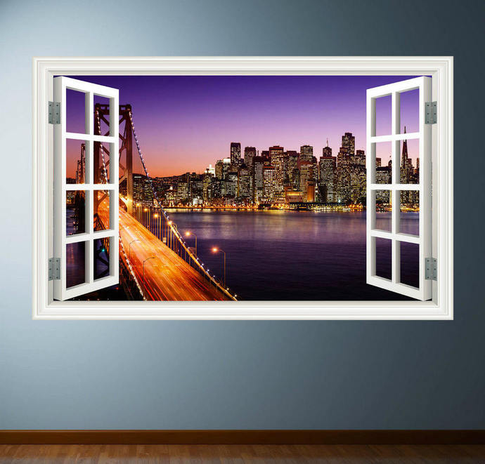 Full Colour NEW YORK CITY Sunset wall art sticker decal transfer Graphic Print