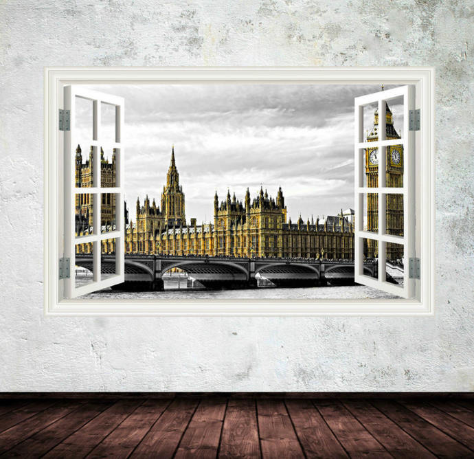full colour big ben london window wall artmysticky on zibbet