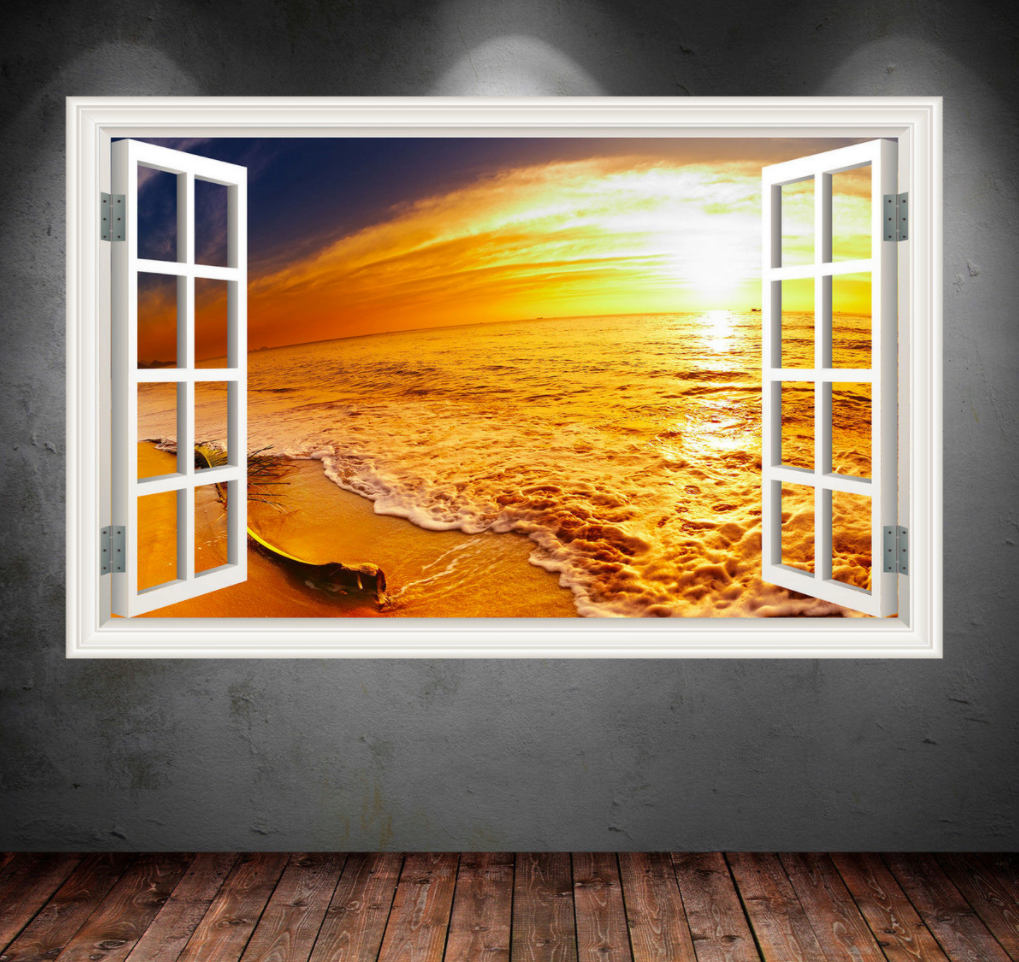 Full Colour PARADISE SUNSET BEACH Sea wall art by MySticky on Zibbet