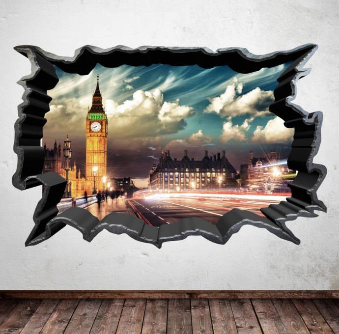BIG BEN LONDON cracked wall art sticker decal transfer Graphic Print Wall