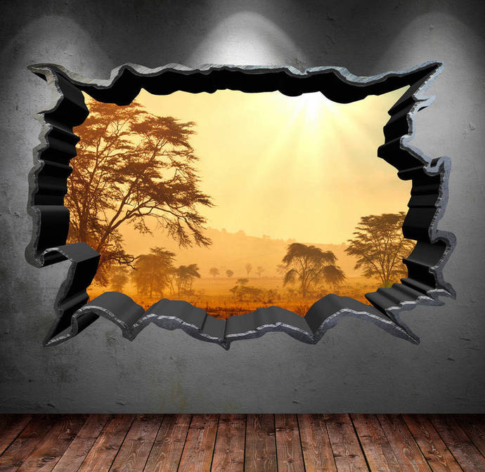 Wall Decal Cracked Hole Safari Home 3D Full by MySticky on Zibbet