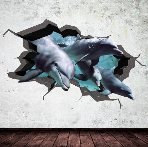 Dolphin Wall Decal Cracked 3d Wall Sticker Mural Decal Graphic Wall Art Bedroom & Dolphin Wall Decal Cracked 3d Wall Sticker Mural by MySticky on Zibbet