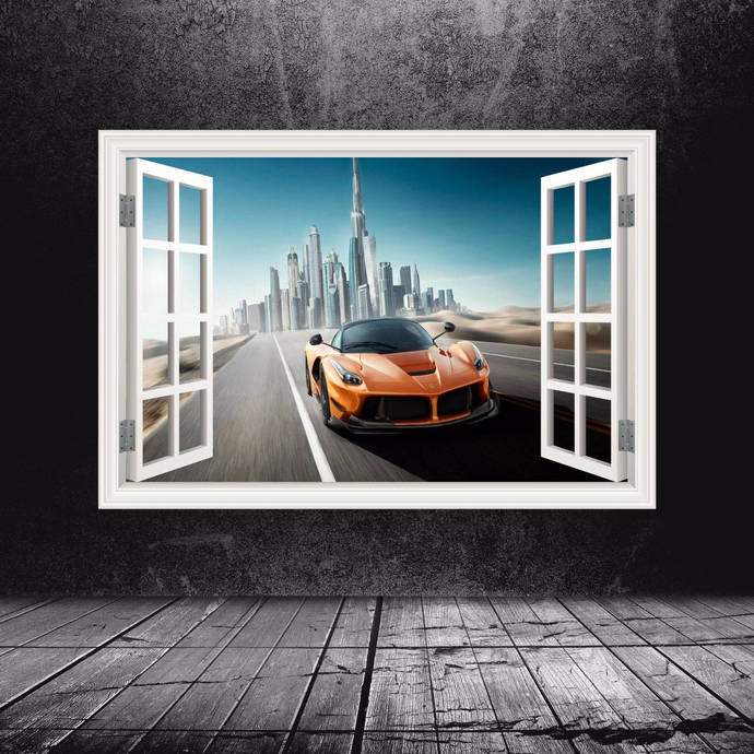 Super Car Ferrari Sports Cars Window Dubai Full by MySticky on Zibbet