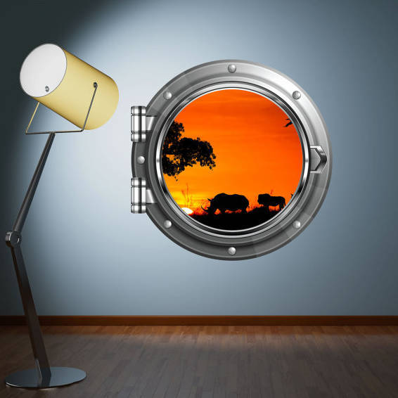 Porthole Wall Decal Safari African Sunset Wall sticker Kids Bedroom Decal Mural