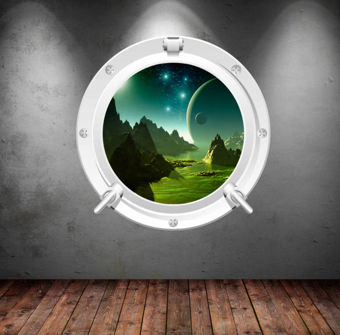 porthole wall decal earth moon mars space galaxymysticky on zibbet