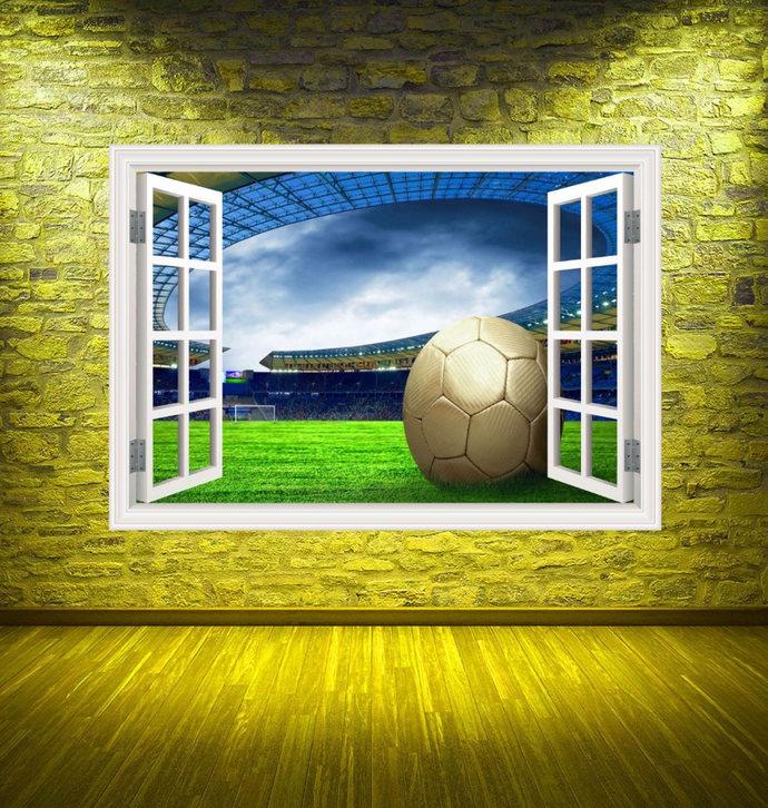 Full Colour Football Stadium Wall Decal Soccer Window Wall Art Sticker  Transfer