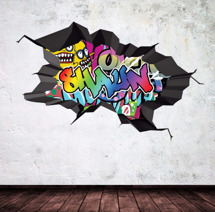 Wonderful Personalized Name Full Color Graffiti Wall Decals Cracked 3d Wall Sticker  Mural