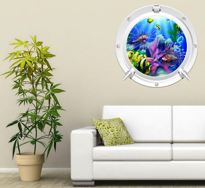 Porthole Wall Decal Full Color Aquarium Fish Sea Tropical Fish Wall Sticker  Kids