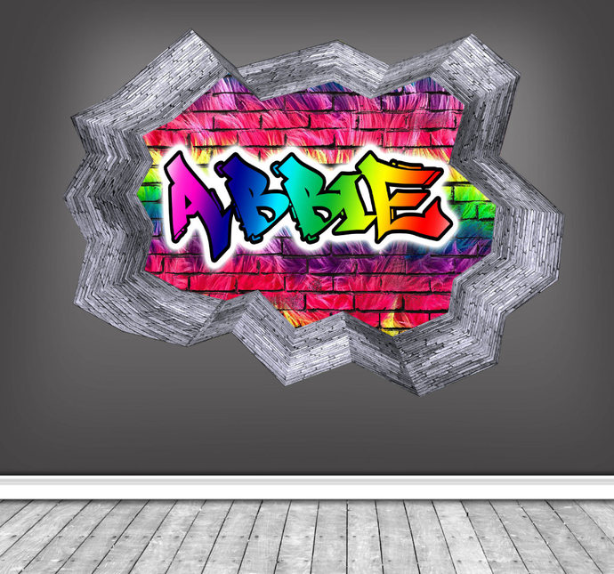 Personalised custom graffiti name wall decals full colour wall art sticker
