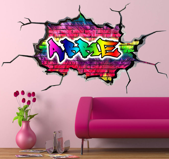 personalised name custom wall decal cracked wallmysticky on zibbet