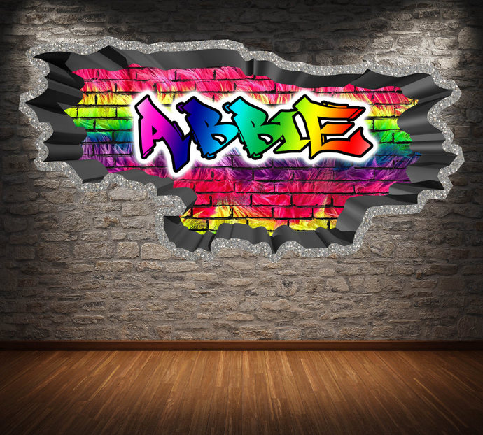 Personalised Custom Graffiti Name Wall Art Stickers Decor For Kids Girls  Boys Bedroom Vinyl Decals Murals Graphics WSDPGN43