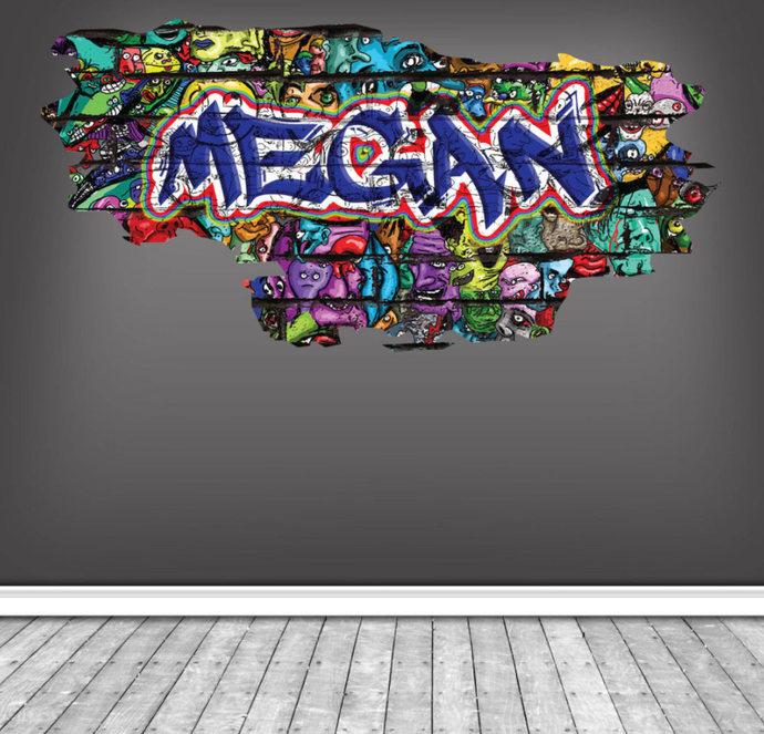 Graffiti Name Personalised Wall Art Sticker Full Colour Print Decal Transfer