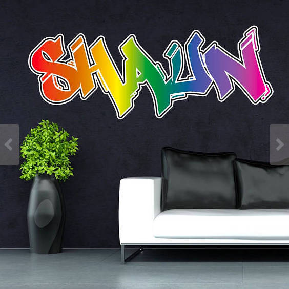 Personalised custom graffiti name wall art stickers decor for kids vinyl bedroom
