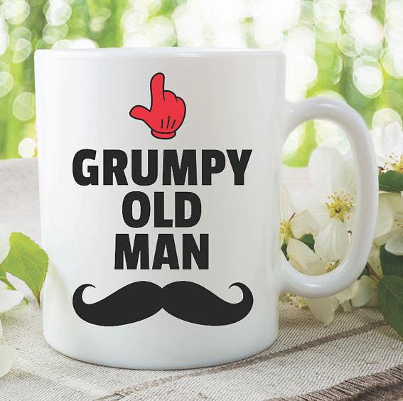 Funny Novelty Mugs Grumpy Old Man Moustache Joke Coffee Tea Cups Adult Humour