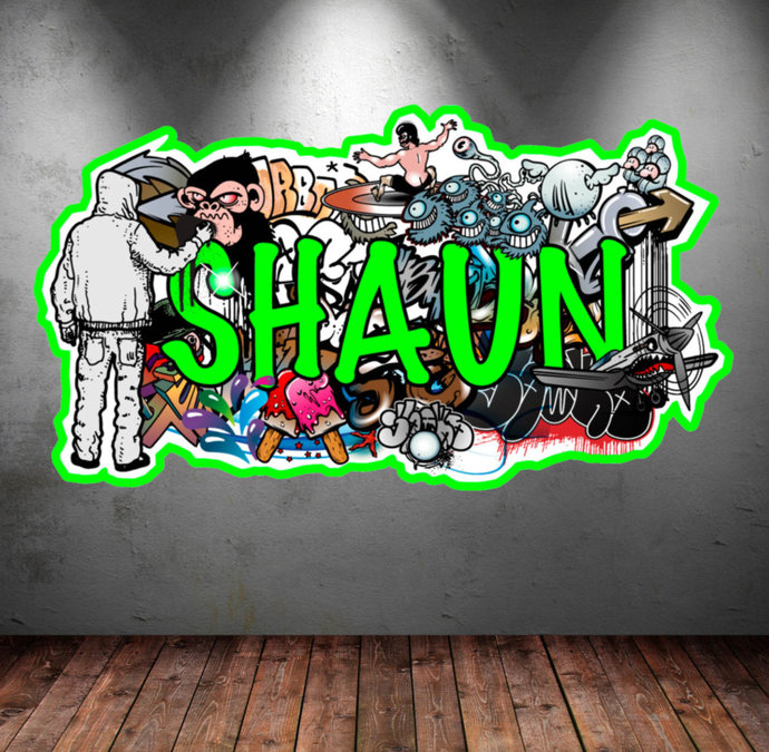 Great Personalized Name Full Color Graffiti Wall Decals Cracked 3d Wall Sticker  Mural