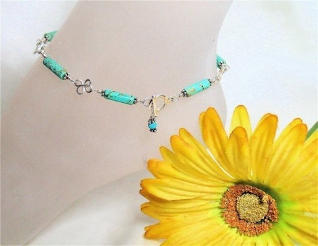 Turquoise Sterling Silver Clover Anklet