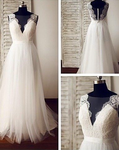 Beautiful White Tulle and Lace Wedding Dresses, A-line Long Wedding Gowns,