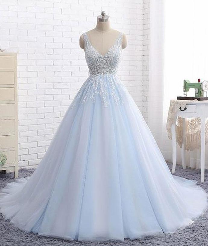 Elegant Ball Gown V-Neck Blue Tulle Long Prom Evening Dress with Appliques