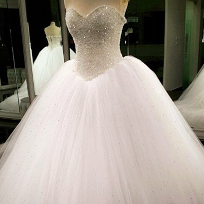 Wedding Dresses, Wedding Gown,Bling Beading Sequin Sweetheart A Line Princess