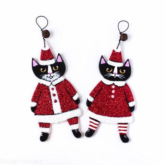 Mr. and Mrs. Santa Claus Original Folk Art Glittery Clay Christmas Ornaments
