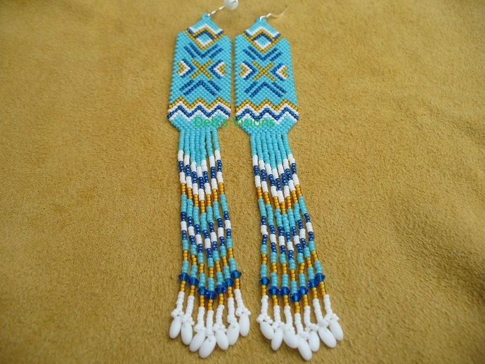 Native American Style Brick Stitched Geometric Shoulder Duster earrings in
