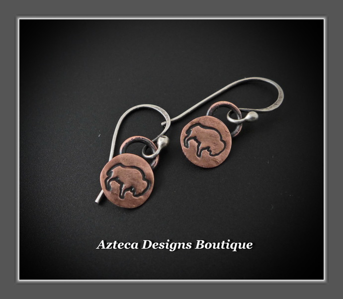 Bison Buffalo Hand Fabricated Hand Stamped Copper Silver Charm Earrings