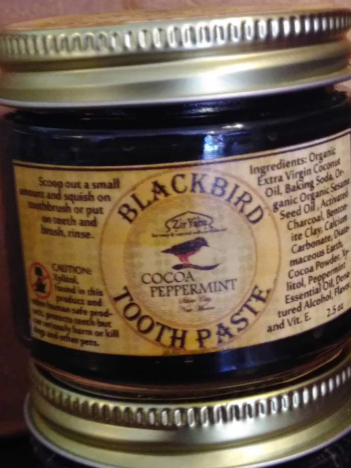 Cocoa Peppermint Toothpaste, Activated Charcoal, Remineralizing, Whitening,
