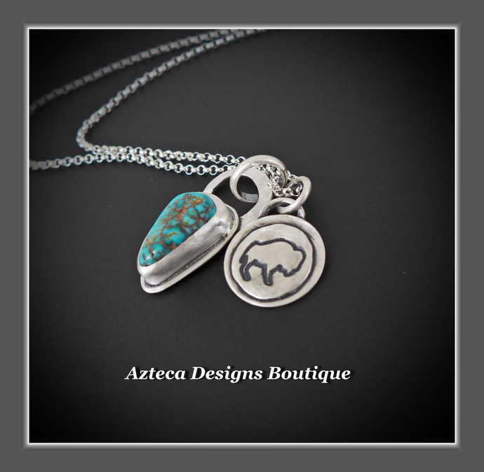Wild~ Arizona Turquoise Sterling Silver Bison Hand Fabricated Charm Necklace