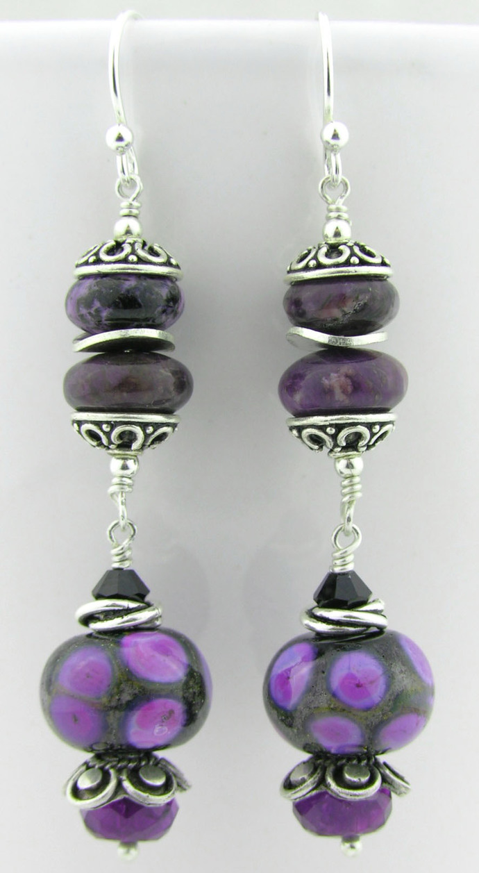 Black purple lampwork amethyst sterling earrings - charoite spots orchid brown