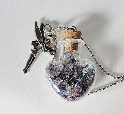 Mini HEART Bottle-FAIRY MAGIC---Silver Fairy Sprinkles--Ball Chain --Pewter